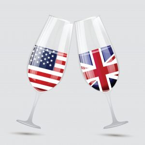 UK and US wine glasses - Flags in each glass